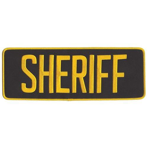 HEROS PRIDE 5263 Embrdrd Patch, Sheriff, Med Gold on Blck