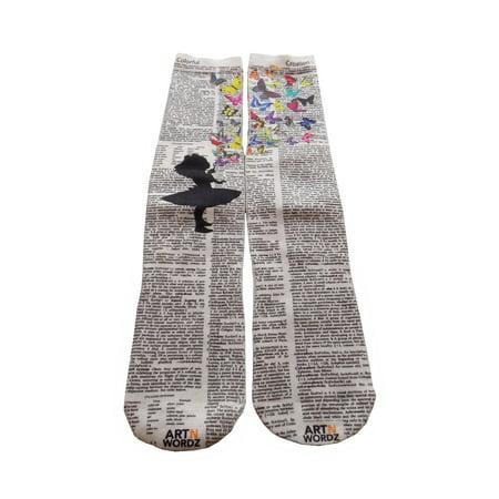 Art N Wordz Apparel Butterflies Fly Dictionary Pop Art Unisex Socks