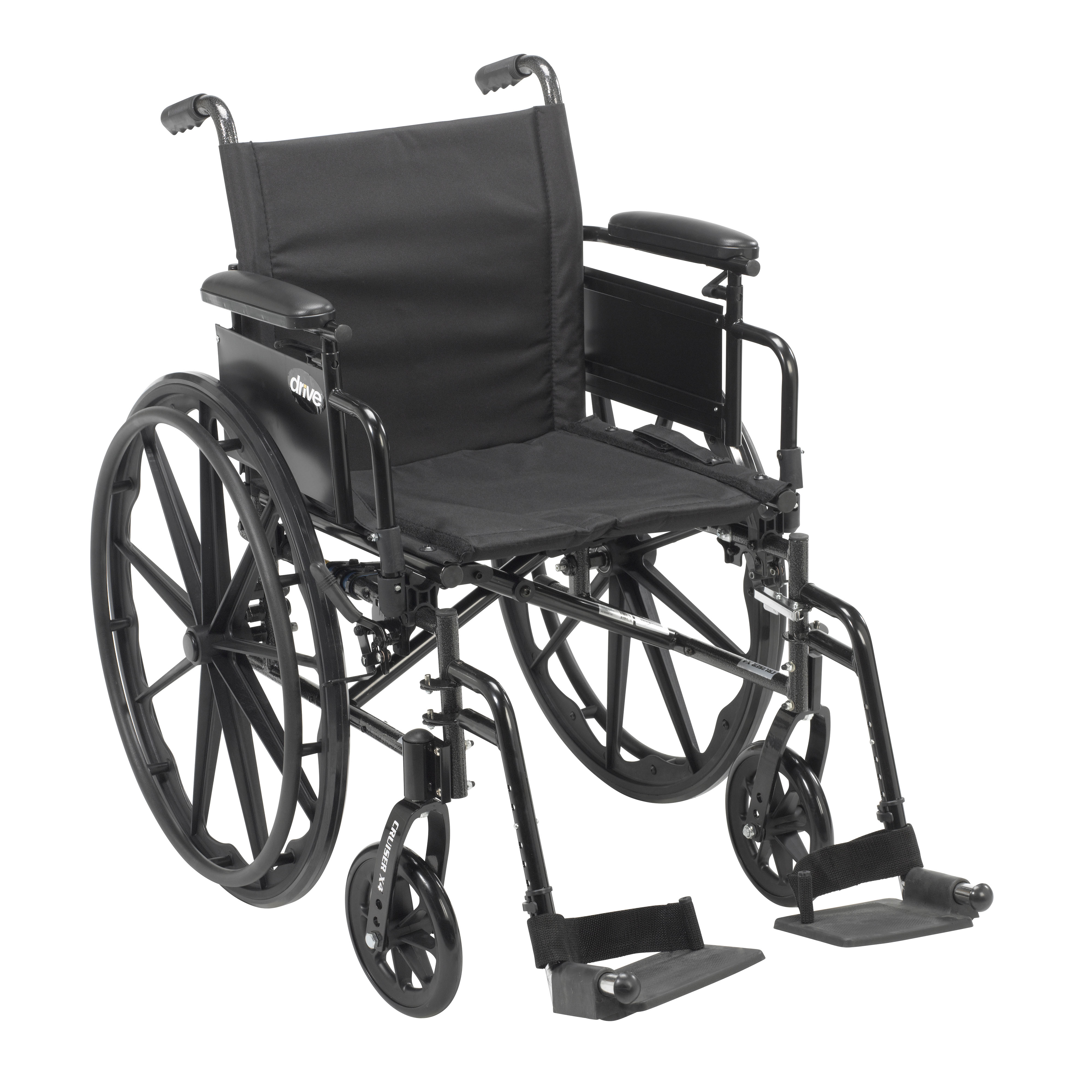"""Cruiser X4 Lightweight Dual Axle Wheelchair with Adjustable Detachable Arms, Desk Arms, Swing Away Footrests, 16"""" Seat"""