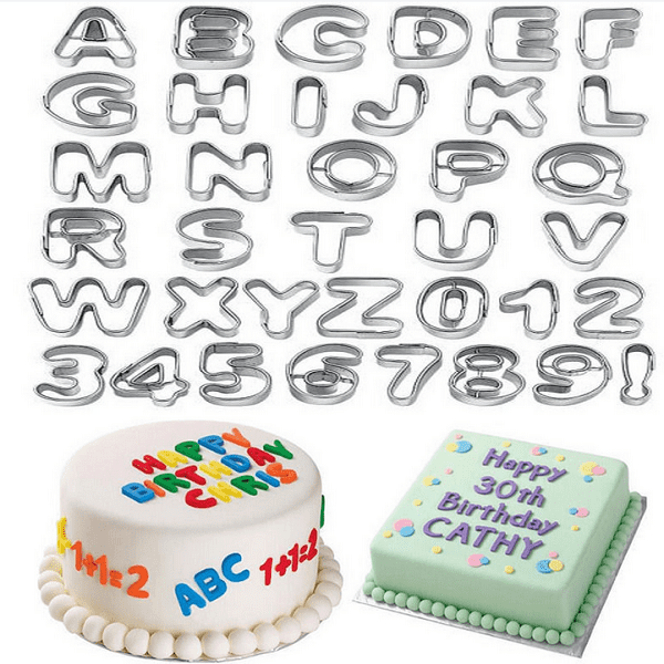 36Pcs Alphabet Letter & Number Cake Cookie Cutter Sugarcraft Decorating Mold Cake Decorating Supplies by