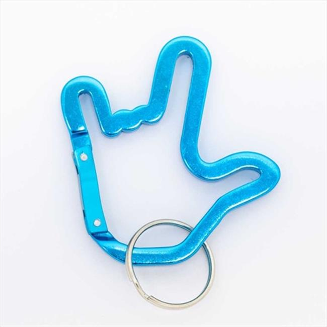 Harris Communications N533 ILY Handshape Turquoise Alloy Carabiner