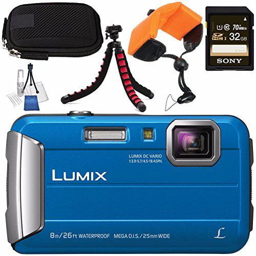 Panasonic Lumix DMC-TS30 Digital Camera (Blue) DMC-TS30/BL + Sony 32GB SDHC Card + Small Carrying Case + Waterproof Floating Strap + Flexible Tripod + Deluxe Cleaning Kit Bundle