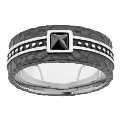 BIG Jewelry Co Black-plated Stainless Steel Men's Cubic Zirconia Ring (4mm)
