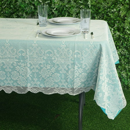 BalsaCircle 60-Inch x 90-Inch Rectangular Tablecloth with Floral Lace Table Linens Wedding Events Party Dining Decorations (Lace Table Cloth)