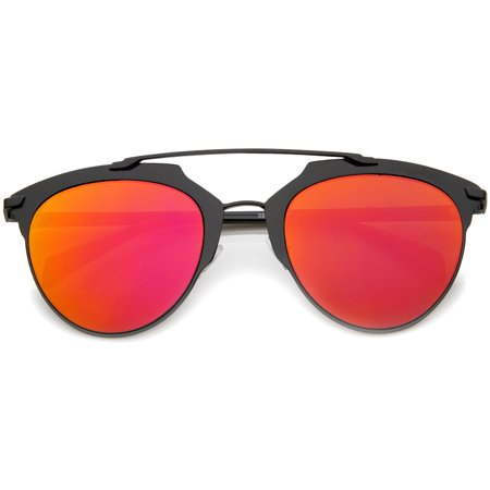 sunglassLA - Modern Fashion Metallic Frame Color Mirrored Lens Pantos Aviator Sunglasses - 55mm (Aviator Metallic Sunglasses)