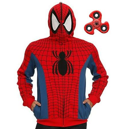 Spider-Man Mens' Cosplay Costume Full Zip Hoodie & Spinner Multi-Pack Set