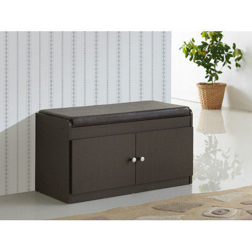 Wholesale Interiors Baxton 2-Door Shoe Cabinet with Faux Leather Seating Bench