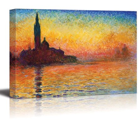 wall26 - San Giorgio Maggiore at Dusk by Claude Monet - Canvas Print Wall Art Famous Oil Painting Reproduction - 32