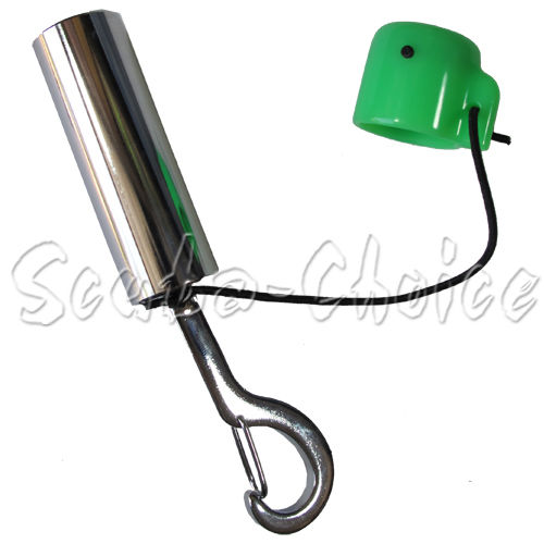 Scuba Choice Scuba Diving Safety Tank Rattle Stick Signal Bell with Clip, Green