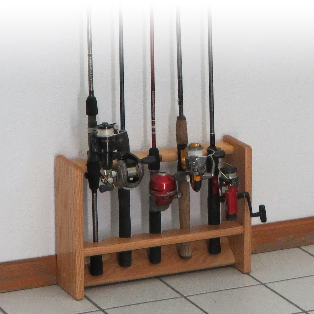 Wooden Mallet Deluxe 5 Fishing Rod Rack