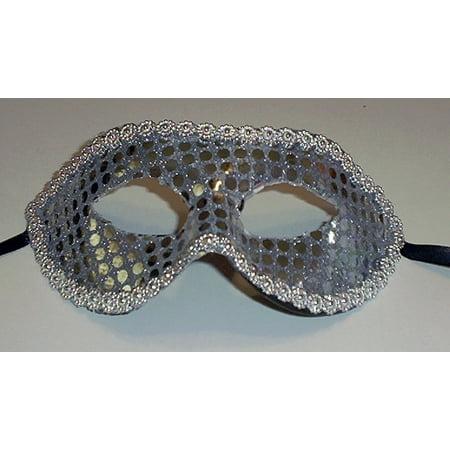 Silver Sequin Masquerade Party Value Mardi Gras Halloween Mask - Vause Halloween