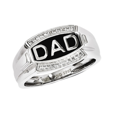 Mens 925 Sterling Silver Diamond DAD Ring