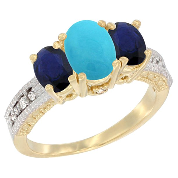 14K Yellow Gold Diamond Natural Turquoise Ring Oval 3-stone with HQ Blue Sapphire, size 7.5