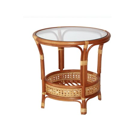 SK New Interiors Pelangi Coffee Round Table Natural Rattan Wicker with Glass Top Handmade, Colonial ()