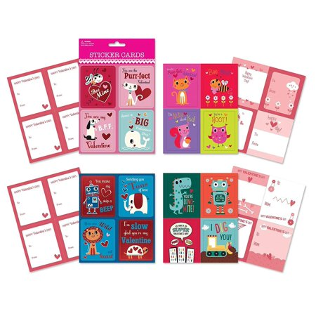 B-THERE School Valentine Day Sticker Cards - Pack of 64 Cards. Fun & Cute Designs Featuring Foil & Sentiments, Kids Valentines (Grandparents Day Cards For Kids To Make)