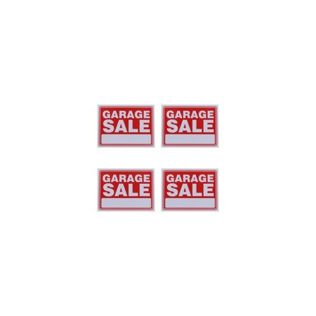 Garage Sale Sign 9 x 12 Inch - 4 Pack, States Garage Sale in white and has a red backing By