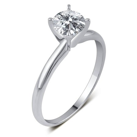 1/2 Carat T.W. IGL Certified Round Solitaire Diamond 14kt White Gold Engagement Ring