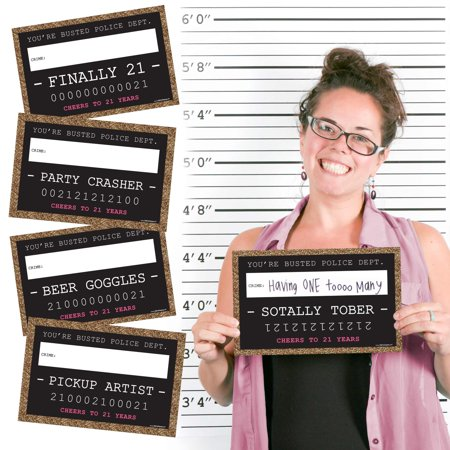 Finally 21 Girl - 21st Birthday Party Mug Shots - Photo Booth Props Kit - 20 Count (21st Birthday Themes For Her)