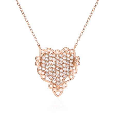 Genuine Cubic Zirconia Heart Necklace in Rose Gold over Sterling Silver Genuine Heart Rose Quartz Necklace