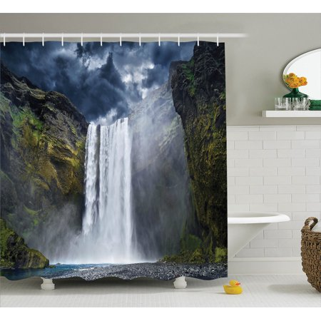 Natural Waterfall Decor  Waterfall And Grand Cliffs In Northern America Force Of Nature Art Print, Bathroom Accessories, 69W X 84L Inches Extra Long, By Ambesonne