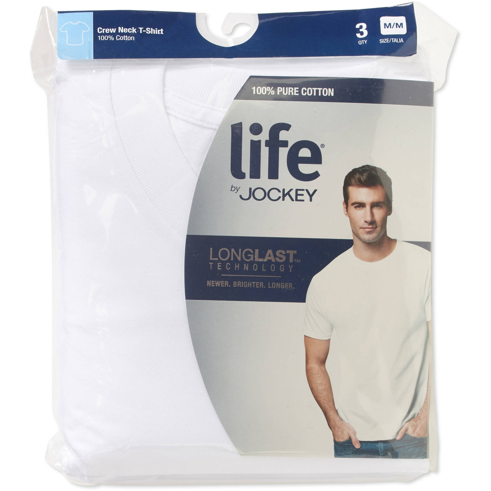 7f1055f5 Life by Jockey - Men's White Cotton T-Shirt, 3-Pack - Walmart.com
