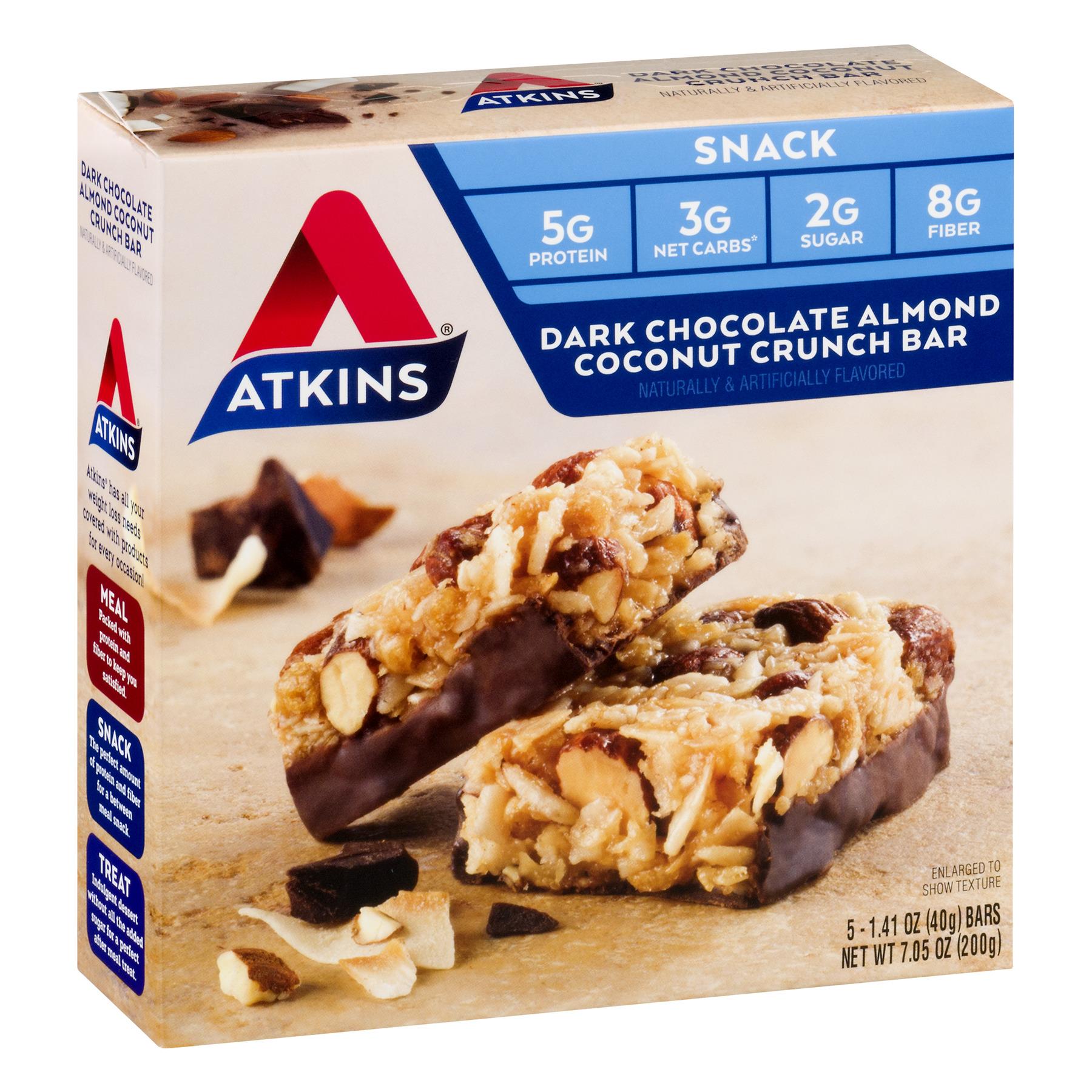 Atkins Nutritionals, Dark Chocolate Almond Coconut Crunch, 5 Ct