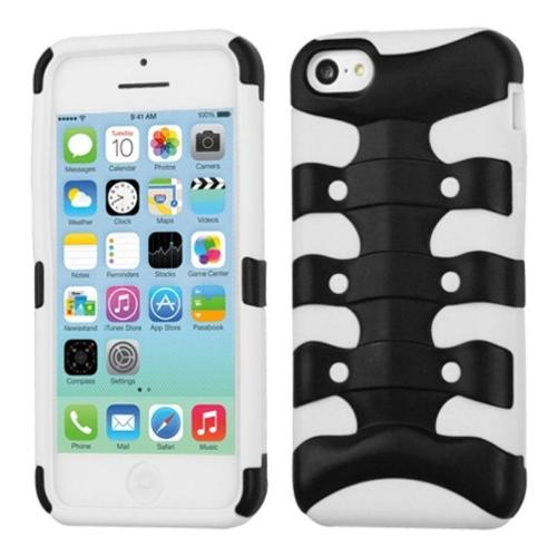 Insten Rubberized Black/Solid White Ribcage Hybrid Rugged Hard Shockproof Case For iPhone 5C