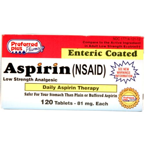 Aspirin 81mg [Low Dose] Enteric Safety Coated tablets 120 ea (Pack of 2)