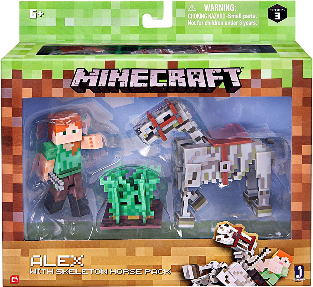 Minecraft Series 3 Alex With Skeleton Horse Action Figure Set by Jazwares, Inc.