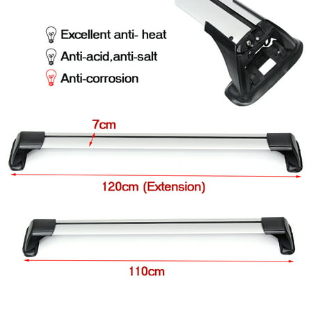 Pair 110cm -120cm Universal Roof Racks Cross Bars Anti-theft Lock Luggage Carrier Car Roof Bars Car Accessories - image 5 de 10