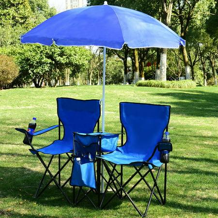 Costway Portable Folding Picnic Double Chair W Umbrella