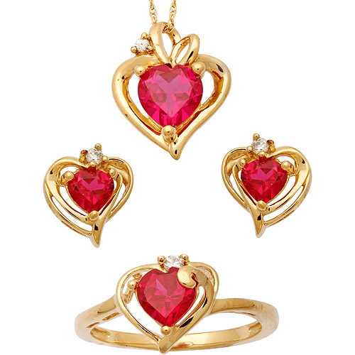 CZ and Created Ruby 14kt Gold over Sterling Silver Heart Pendant, Earrings and Ring Set