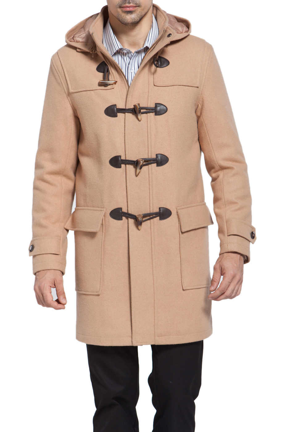 BGSD Men's 'Benjamin' Wool Blend Classic Duffle Coat by