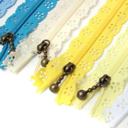 10PCS Nylon Coil Mix Color Lace Edge Brass Zipper Puller with closed end for Tailor DIY Craft Dress Case Bag 8-14inch Random Color,20cm color