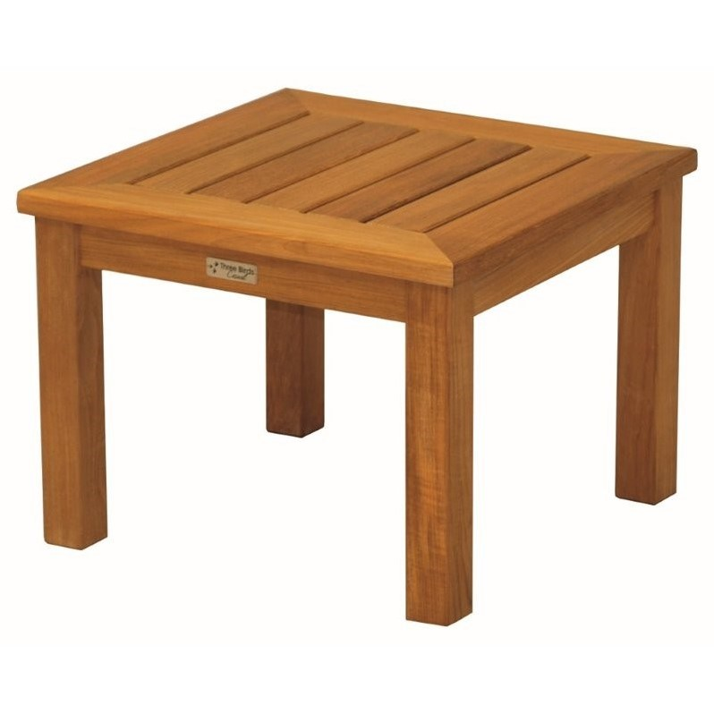 Three Birds Casual Newport Low Square Patio End Table in Teak