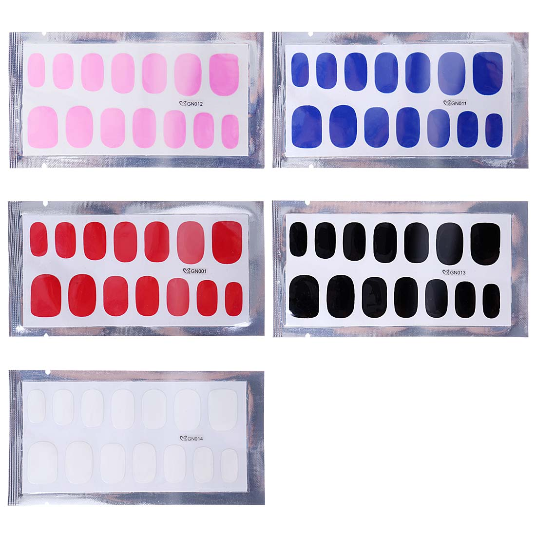 BMC Shiny Glossy Gel Polish Nail Art Applique Sticker Wraps - 5 Sheet Set - NO UV LAMPS REQUIRED