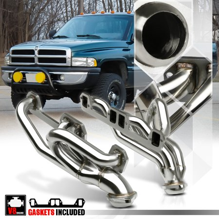 Stainless Steel Exhaust Header Manifold for 92-04 Ram/Durango/Dakota 5.2/5.9 V8 93 94 95 96 97 98 99 00 01 02 - 00 01 02 03 Hatch