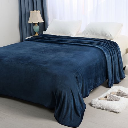 Ultra Soft Microplush Flannel Fleece Throw Blanket for Bed, Navy Blue King