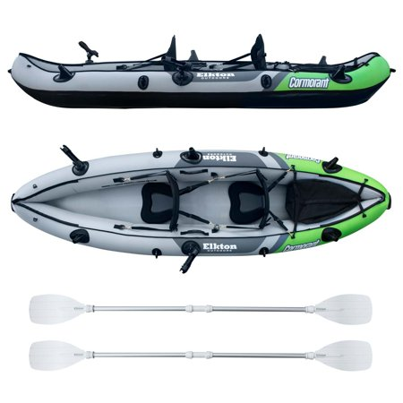 Elkton Outdoors Comorant 2 Person Kayak, 10 Foot Inflatable Fishing Kayak, Full Kit!