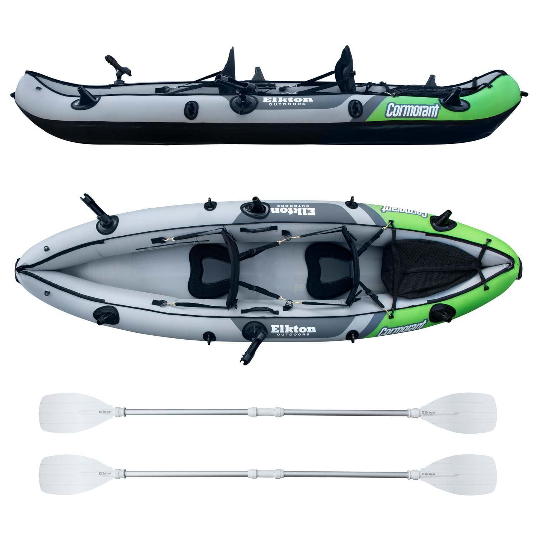 Elkton Outdoors Comorant 2 Person Kayak, 10 Foot Inflatable Fishing Kayak, Full Kit!