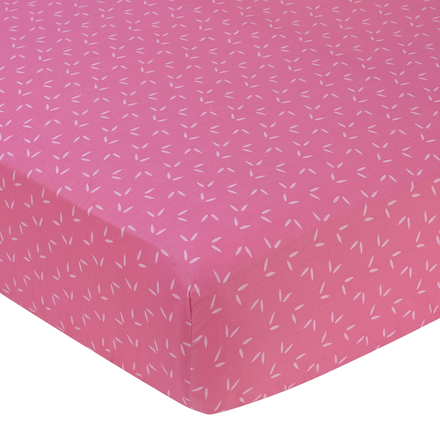 Sweet Jojo Designs  Pink Happy Owl Mini Leaf Print Fitted Crib Sheet
