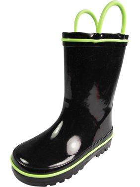 Norty Little and Big Kids Boys Girls Waterproof Rubber Rain Boots for Children, 39828 Black/Lime / 13MUSLittleKid