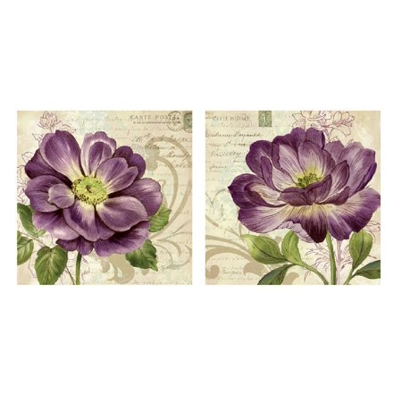 Vintage Study in Purple; Two Beautiful Postcard Style Floral Roses; Two 12x12in Prints ()