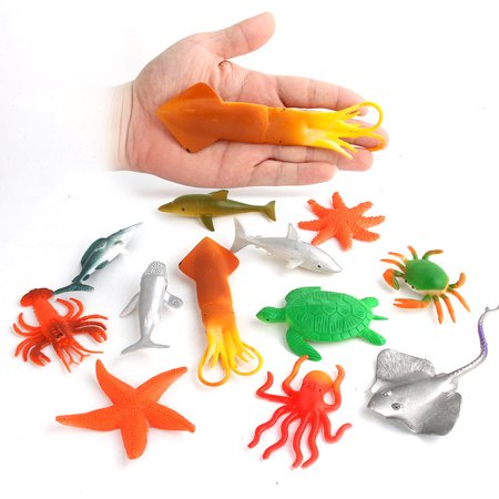 12PCS hotsales Plastic Ocean Animals Figure Sea Creatures Model Toys Dolphin Turtle
