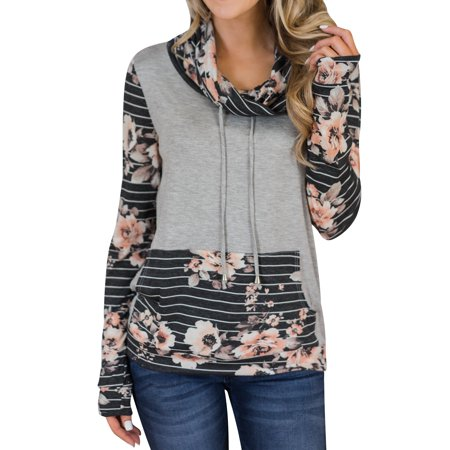 Starvnc Women Funnel Neck Long Sleeve Splice Stripe Pocket Floral Pullover Tops
