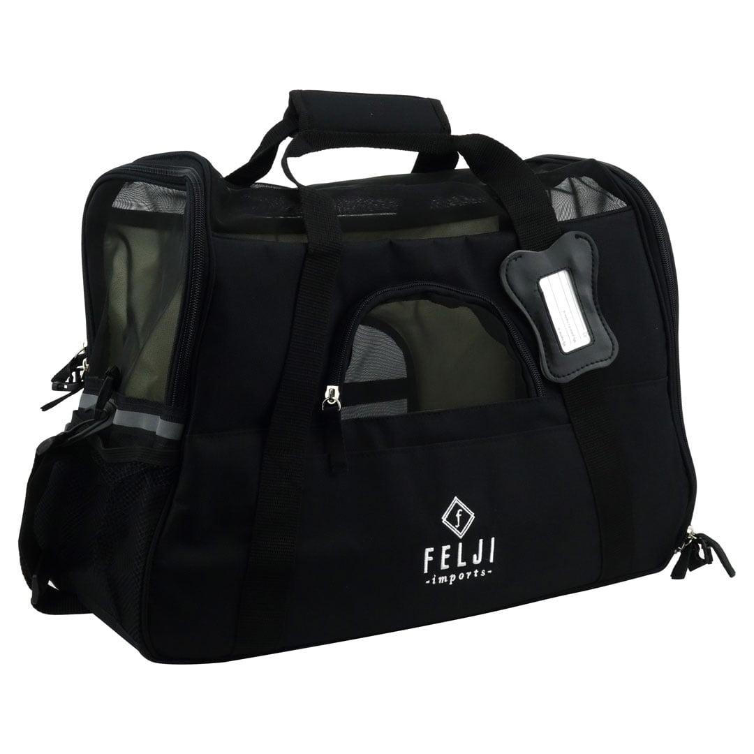 Felji Pet Carrier Cat Dog Airline Approved Fleece Bag Medium Black by
