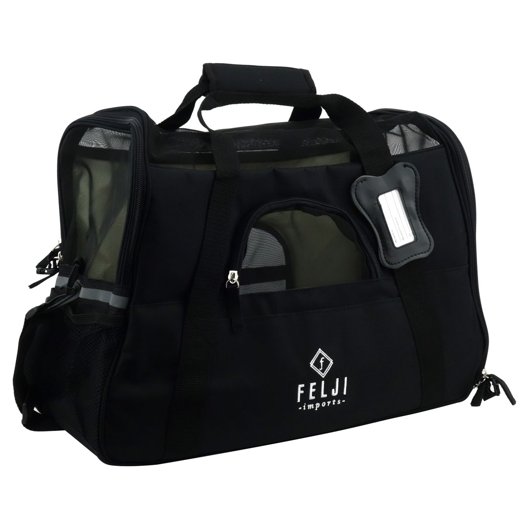 Felji Pet Carrier Cat Dog Airline Approved Fleece Bag Medium Black