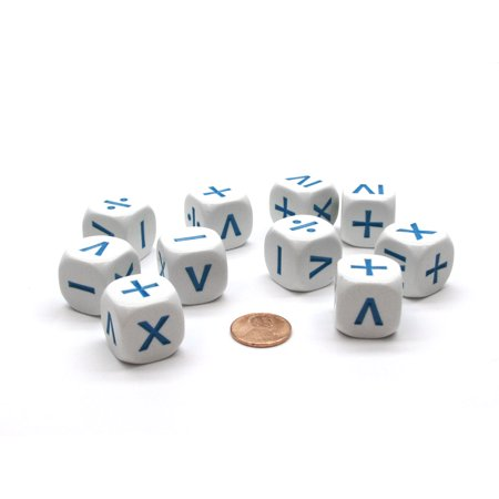 Pack of 10 20mm D6 Math Operation Six Function Dice - White with Blue Etches