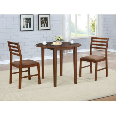 3Pcs Solid Oak Wood Round Dining Set With Brown Color Seats