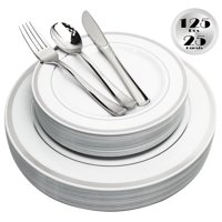 JL Prime 125 Piece Silver Plastic Plates & Cutlery Set, Heavy Duty Disposable Plastic Plates with Silver Rim & Silverware, 25 Dinner Plates, 25 Salad Plates, 25 Forks, 25 Knives, 25 Spoons